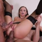 Super hot poker pro Tina Kay swallows & rides 2 big hard dicks with her ass