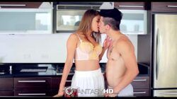 FantasyHD – Teen left home alone with pool boy swallows his cum